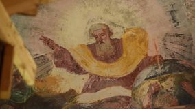 Beautiful wall painting of the Kazan temple of the dome base stock video