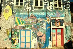 Beautiful wall paintings in fort kochi Royalty Free Stock Photography