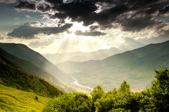 Beautiful walley. In Caucasus mountains in Upper Svaneti, Georgia Royalty Free Stock Image