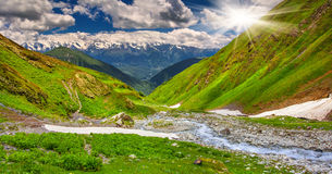 Beautiful walley in Caucasus mountains. In Upper Svaneti, Georgia Stock Photo