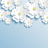 Beautiful wallpaper with 3d stylish flowers sakura. White. Greeting or invitation card with stylized flowers sakura. Modern trendy background. Vector Stock Photo