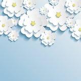 Beautiful wallpaper with 3d stylish flowers sakura royalty free illustration