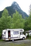 Beautiful mountains and trees and mobile home lovely stock photos