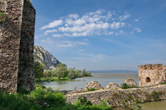 Beautiful walls and towers of medieval fort at River Danube Stock Photo