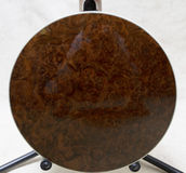 Beautiful walnut burl on a banjo resonator Royalty Free Stock Photography