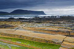 Beautiful Warbeth Bay, Orkney with a storm coming Stock Photo