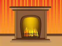 Beautiful warm hot fireplace romantic Royalty Free Stock Photography