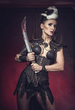 Beautiful warrior woman. Fantasy fighter. Royalty Free Stock Images