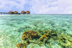 Beautiful water bungalows and the beach in Maldives Royalty Free Stock Image
