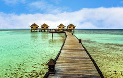 Beautiful water bungalows in the resort Stock Photo