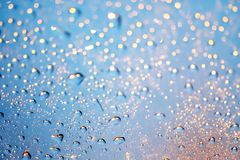 Free Beautiful Water Drops On Window Glass And Many Bokeh In Night Li Royalty Free Stock Photography - 124834167