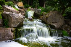 Waterfall in Holland Park. Beautiful water fall in the Japanese Gardens in Holland Park, London in the summer royalty free stock photo