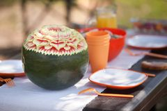 Beautiful water-melon. On a table during picnic Royalty Free Stock Photo