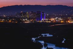 Beautiful Ballona Wetlands after Sunset. Beautiful water reflecting the sky in the Ballona Wetlands with city lights from Marina Del Rey in the background after stock image
