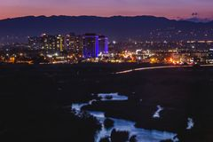 Beautiful Ballona Wetlands after Sunset. Beautiful water reflecting the sky in the Ballona Wetlands with city lights from Marina Del Rey in the background after Royalty Free Stock Image