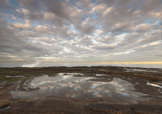 Beautiful water reflections. In a coastal rock pool royalty free stock images