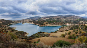 Beautiful Water Reservoir Under The Cloudy Sky. Stock Photography