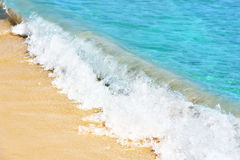 Beautiful water of the sea. And yellow sand stock image