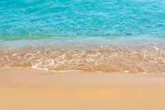 Beautiful water of the sea. And yellow sand stock photography