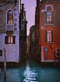 Beautiful water street , evening view- Venice, Italy Royalty Free Stock Photo