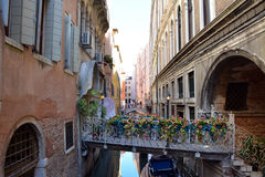 Beautiful water street in Venice, Italy. Stock Photo