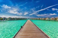 Beautiful water villas on the sea with the bridge, Maldives Stock Photography