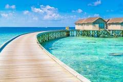 Beautiful water villas in tropical Maldives island  . Royalty Free Stock Photos