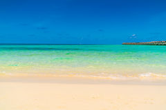 Beautiful water villas in tropical Maldives island  . Royalty Free Stock Photo