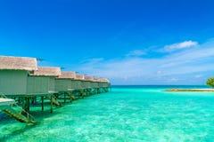 Beautiful water villas in tropical Maldives island  . Stock Photography