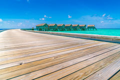 Beautiful water villas in tropical Maldives island  . Royalty Free Stock Photography