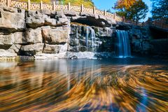 The beautiful water and waterfalls. The photo was taken in Guanmenshan reservoir Benxi city Liaoning province, China. It is autumn scenic of Benxi stock image
