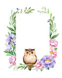 Beautiful watercolor border frame with peony,flower,foliage,branches,cute owl Stock Image