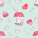Beautiful watercolor bottle, a pattern with birds. Watercolor seamless pattern. Background with sweets, birds, hearts and flowers. Valentine`s Day. Love forever Stock Photography
