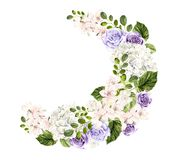 Beautiful watercolor bouquet with spring flowers, roses and hudrangea. Illystration royalty free illustration