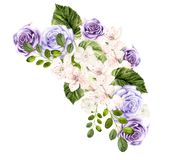Beautiful watercolor bouquet with spring flowers and roses. Illustration stock image