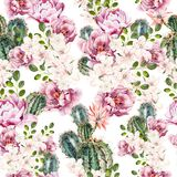 Beautiful watercolor bright pattern with peony and cuctus.