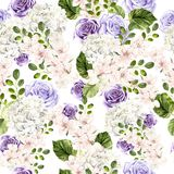 Beautiful watercolor bright pattern with roses, hudrangea and spring flowers. vector illustration