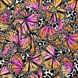 Beautiful watercolor butterflies on animal print background