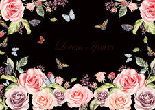 Beautiful watercolor card with roses flowers and berries. Butterflies and plants. Royalty Free Stock Images