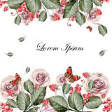 Beautiful watercolor card with roses flowers. Butterflies and pl Stock Photo