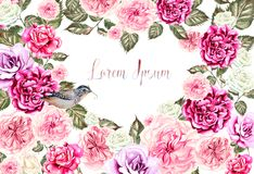 Beautiful watercolor card with roses and peony flowers. Illustration Royalty Free Stock Photo