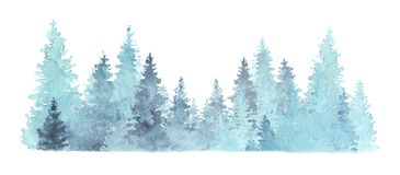 Free Beautiful Watercolor Coniferous Forest Illustration, Christmas Fir Trees, Winter Nature, Holiday Background, Conifer, Snow, Outdoo Stock Photography - 160252852