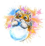 Beautiful watercolor drawing with a tiger cub with snow in its paws and pink flowers and patterns around