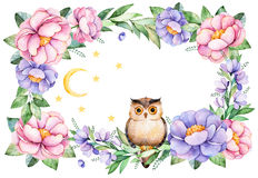 Beautiful watercolor frame border`Magical Night` with roses,flower,foliage,peony,branches,cute owl,moon and stars. Stock Photos