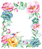 Beautiful watercolor frame border with place for text Royalty Free Stock Photography