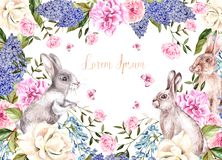 Beautiful watercolor greeting card with Easter bunnies. With flowers of roses, lilacs, peony and butterflies. Illustration Royalty Free Stock Image