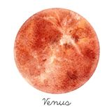 Watercolor Venus planet illustration stock illustration