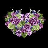 A beautiful watercolor heart with roses and peony flowers, leaves and berries. Illustration Royalty Free Stock Images