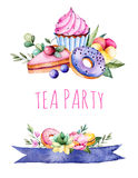 Beautiful watercolor invitation with tasty cupcakes,succulent plant,leaves,branches,macaroons,pansy flower,ribbons,donuts,cherry c Royalty Free Stock Image