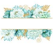 Beautiful Watercolor mint flowers frame. Mint gold wedding invites template. Beautiful Watercolor mint flowers frame. Mint gold flower frame! Perfect decoration stock illustration